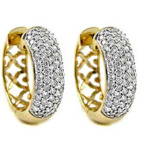 Par Brincos Argola Ouro Amarelo 18k/750 + Diamantes