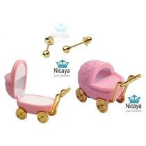 Nicaya Brinco Infantil De Bolinha Em Ouro 18k-750 + Caixinha