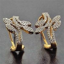 Brinco Em Ouro Amarelo 18 Quilates Mais Diamantes De 1 Ponto