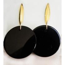 Brinco De Ouro Pedra Onix Natural 18k 750 Com Garantia