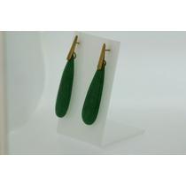 Brinco De Pedra Natural Jadi Verde Ouro 18k 750