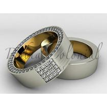Aliança De Luxo - 1 Cts De Diamantes - Ouro 18k. Casamento