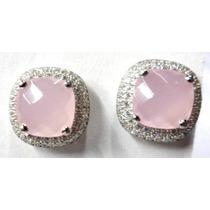 Bxt-brincos Prata Lei 925-quartzo Rosa-zirconias-rodinado-fr