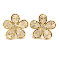 Brincos Flor Pedras Zirconia Brilhante 19mm Ouro Amarelo 18k