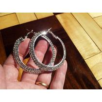 Brinco Argola 6cm Par Diamonte/ Rhinestone 2 Camadas Prata