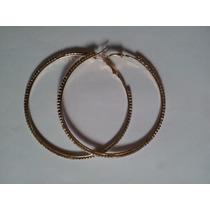 Brinco Argola 8.5cm Par Diamonte Rhinestone Dourado 1 Camada