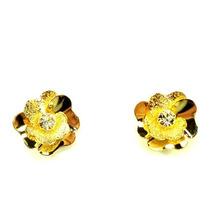 Brinco Flor Dourada Com Pedrinha Brilhante 00122001 Bijuslu