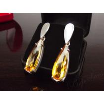 Par Brincos Com Pedra Citrino Amarelo Prata 950 Maciça
