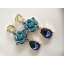 Fantástico Brinco Blue Em Ouro 18k Plated E Pedras