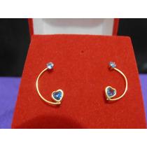 Brinco Meia Lua Em Ouro 750 18k Com Coração E Pedra Azul