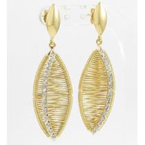 Esfinge Jóias - Brinco Folha Pendente Diamantes Ouro 18k 750