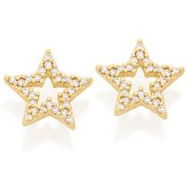 Brinco Estrelas Com Zircônias Rommanel Folheado Ouro 525264