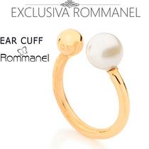 Rommanel Ear Cuff Meia Argola Perola Brinco Folh Ouro 525327