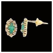 Brinco Chuveiro Esmeraldas E Diamantes De Ouro 18k