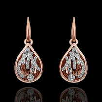 Brincos Femininos Folheados Ouro Rose 18k + Cristal Stellux