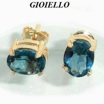 Brincos Folhado Ouro 18k Cristal Cor London Blue 3003/3