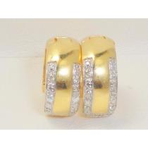 Boqueiraojoias Brinco Argola 14 Diamantes Ouro 18k-750