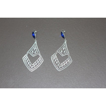 Brinco De Bijuteria Prateado Com Pedra Azul - Lindo!