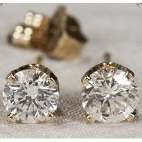 Brincos Tipo Solitário 0,50cts De Diamant Ouro Amarelo 18k!