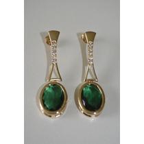 Brincos Femininos Folheados Ouro Verde Esmeralda E Cristais-