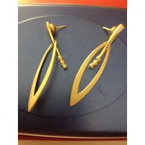 Brincos Ouro 18k Formato Folha Com Diamantes! Vistoso