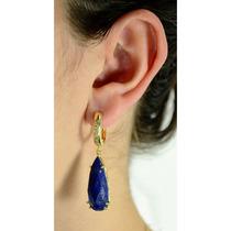 Brinco Argola Facetado Lapis Lazuli Com Cravação De Zircônia