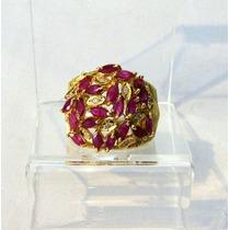 Anel Ouro 18k Rubis E Diamantes Design Vivara