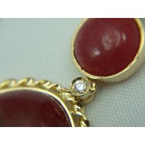 Brinco Ouro 18k 2 Em Um Com Diamantes E Jade Vermelha