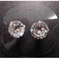 Redondo 10mm - Brinco Zirconia Em Prata 925- Frete Gratis