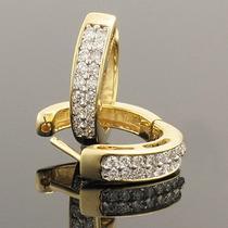 Par De Brincos Argola Lindo Em Ouro Amarelo 18k! E Diamantes