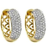 Lindo Par De Brincos Argola Ouro Amarelo18k750+diamantes..