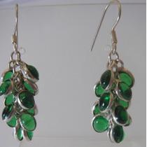 Brinco Com Cristal Verde Esmeralda - Cascata