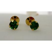 Brincos Recém Nascidos Joia Ouro 18k Pedras Verdes Lindos!