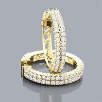 Lindo Par De Brinco Argola Em Ouro 18k E Diamantes