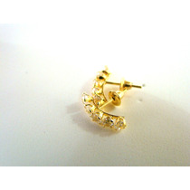 Belíssimo Brinco Meia Argola Pedras Joia Ouro 18k Certifica