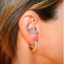Lindo Par De Brincos Argola Em Ouro Rosê 18k E Diamantes