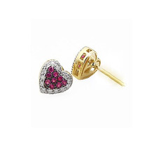 Lindo Par De Brincos Rubis E Diamantes Ouro 18 K!!