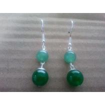 Brinco Em Prata 925 De Jade Esmeralda E Quartzo Verde