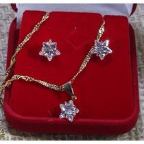 Conjunto Folheado Ouro Estrela Zircônia Brinco Co2 Semi Jóia