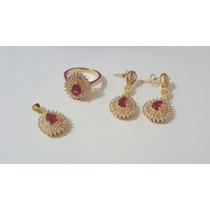 Conjunto Turmalina Rosa Zirconia Banhado Ouro 18k