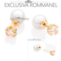 Rommanel Brinco Ear Jacket Com Zirconia E Perola 525367