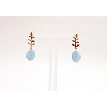 Brinco Feminino - Ouro 18k Com Pedra Jade Aquamarine
