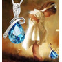 Conjunto Feminino Colar Pedra Brincos Gota De Cristal Azul