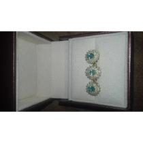 Conjunto De Anel E Par De Brincos Em Diamantes E Turmalina P