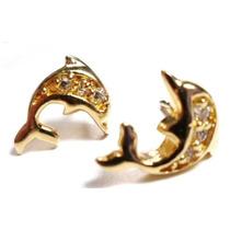 Jii-brincos Golfinho Prata 925 Zirconias Folheado Ouro 18k
