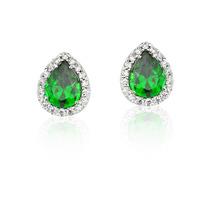 Brinco Princesa - Modelo Gota Verde - Prata De Lei 950