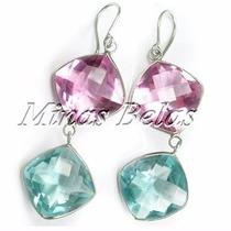 Prata Brinco 5cm Quartzo Rosa E Azul Água Marinha +fretefree