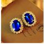 Lindo Brinco Pedra Azul Strass Festa Luxo Madrinha 15 Anos