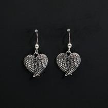 Brinco Prata 925 Feminino Coração + Asas De Anjo - Importado