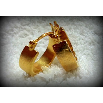 Brinco Argola Ewe Jóias Folheadas Maciça Escovada Ouro 18k